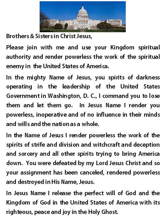 PRAYER FOR NATIONAL LEADERS, NOV 13, 2013
